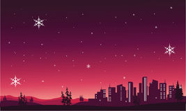 Silhouette of City scenery christmas. Vector illustration Stock Photography