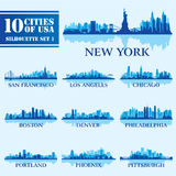 Silhouette city set of USA 1. On blue. Vector illustration stock illustration
