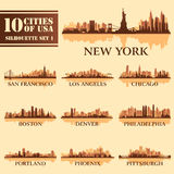 Silhouette city set of USA 1. On brown. Vector illustration vector illustration