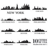 Silhouette city set of USA #1. Vector illustration royalty free illustration