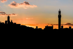 Silhouette of the city of Siena at sunset Royalty Free Stock Photography