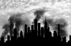 Silhouette of the city in smoke Royalty Free Stock Photos