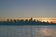 Silhouette of City during Sunset Stock Image