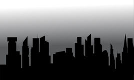 Silhouette of city with tall buildings. Silhouette of the city with tall buildings Stock Photo