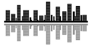 Silhouette city town Stock Image