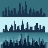 Silhouette of a city Stock Images