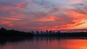 Silhouette of the city of Warsaw. Against the sky at sunset royalty free stock photography