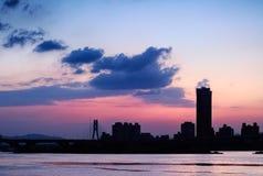 Silhouette  cityscape Stock Image
