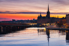 Silhouette cityscape of Gamla Stan Stock Images