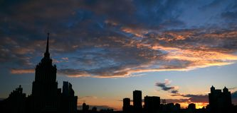 Silhouette of the cityscape of Moscow Royalty Free Stock Photo