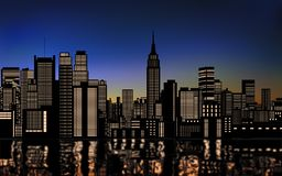 Silhouette of cityscape new york city downtown with light from windows and water reflection at evening sky Royalty Free Stock Images