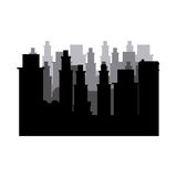 Silhouette cityscape scene night time. Illustration Royalty Free Stock Images