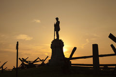 Silhouette of Civil War monument at Bloody Lane, Antietam Battle. Field. This monument is in honor of the 130th Pennsylvania Volunteer infantry stock image