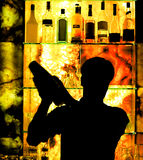 Silhouette of a Classic Barman Stock Photography