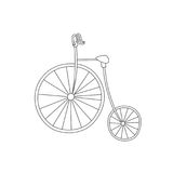 Silhouette of classic vintage bike isolated on white background.  Stock Photo