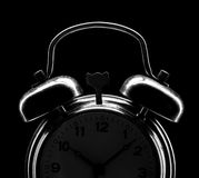 Silhouette of classical alarm clock Royalty Free Stock Photos