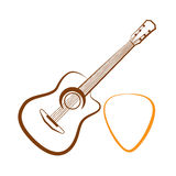 Silhouette of Classical guitar Stock Images