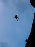 Silhouette of a climber. Silhouette of a rock climber woman Royalty Free Stock Image