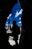 Silhouette of a climber Royalty Free Stock Photos