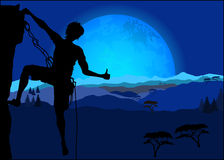 Silhouette of climber showing thumb up Royalty Free Stock Images