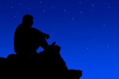 Silhouette  climbers evening. Stock Photos