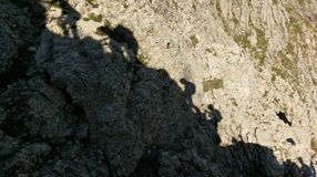 Silhouette of climbers, Via Ferratta Tridentina, Dolomites Stock Photos