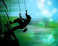 Silhouette of climbing people Royalty Free Stock Photo