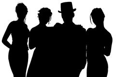 Silhouette With Clipping Path of Formal Group Stock Photo