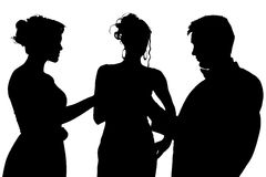 Silhouette With Clipping Path of Friends Royalty Free Stock Photos