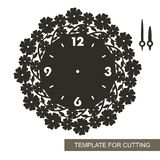 Silhouette of clock with camomiles and leaves on white background. vector illustration