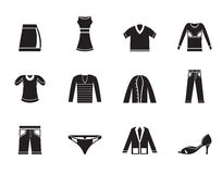 Silhouette Clothing Icons Stock Images