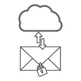 Silhouette cloud with arrows in opposite direction with enveloped and padlock Royalty Free Stock Image