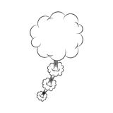Silhouette cloud callout with cumulus cloud. Illustration Royalty Free Stock Photography