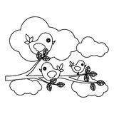 Silhouette cloudscape with birds on branch with leaves. Illustration stock illustration