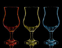 Silhouette of cocktail glass on black background Stock Photos