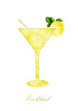 Silhouette cocktail on a white background Stock Images