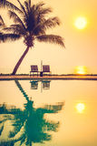 Silhouette coconut palm tree with swimming pool Royalty Free Stock Photos
