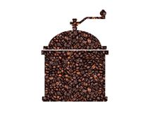 Silhouette of a coffee grinder. With coffee background Stock Photos