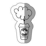 Silhouette coffee online clound icon Royalty Free Stock Photo
