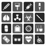 Silhouette collection of  medical themed icons and warning-signs. Vector icon set Stock Images