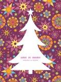 Silhouette colorée d'arbre de Noël d'étoiles de vecteur Photo libre de droits
