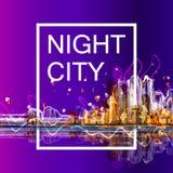 Silhouette colorée de panorama de ville Photos libres de droits