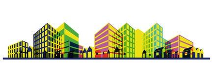 Silhouette colorée de ville. Retrait de point de vue Photographie stock