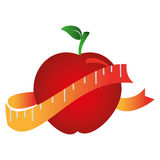 Silhouette color with apple and measuring tape. Vector illustration Royalty Free Stock Image