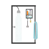 silhouette color bathroom with the shower open Royalty Free Stock Image
