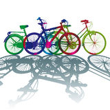 Silhouette color dot bike Royalty Free Stock Photography
