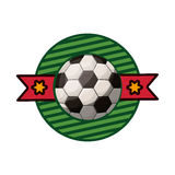 Silhouette color emblem with soccer ball and ribbon in middle Royalty Free Stock Image
