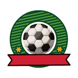 Silhouette color emblem with soccer ball and ribbon Stock Images