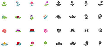 Silhouette and color fantasy logo shape flower  Stock Image