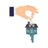 Silhouette color with hand holding Keychain in shape of House. Vector illustration Stock Photos